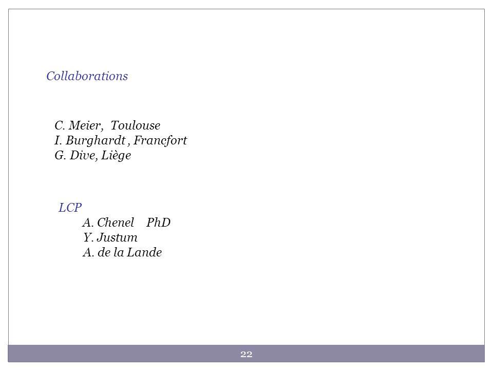 22 Collaborations C. Meier, Toulouse I. Burghardt, Francfort G. Dive, Liège LCP A. Chenel PhD Y. Justum A. de la Lande