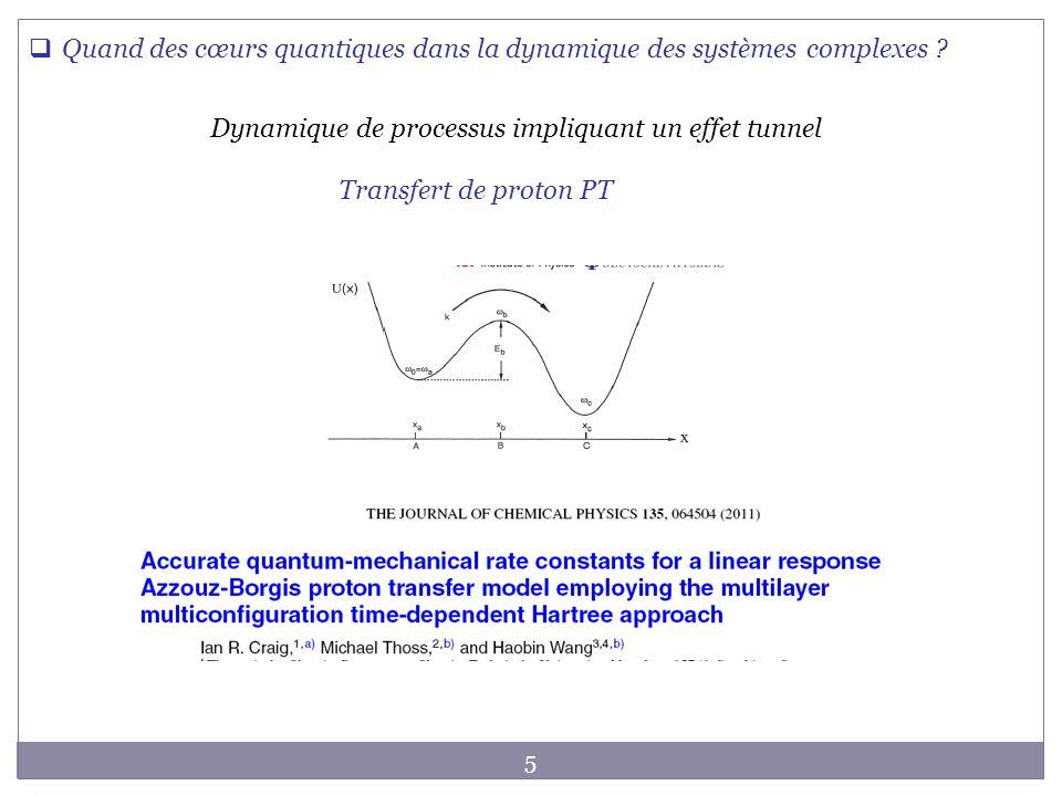 5 Dynamique de processus impliquant un effet tunnel Transfert de proton PT Quand des cœurs quantiques dans la dynamique des systèmes complexes ?
