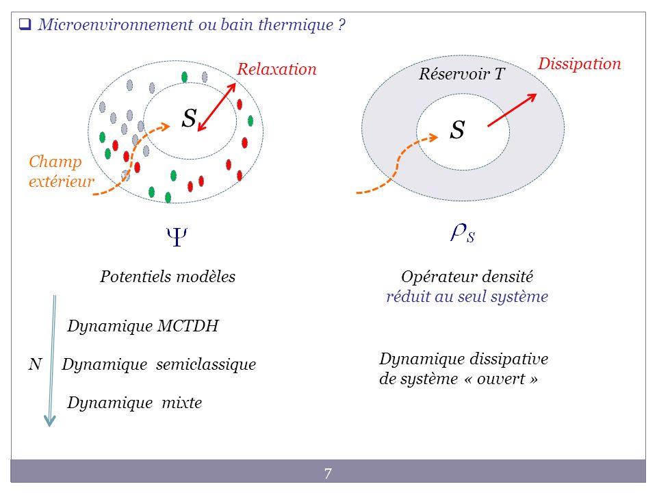 Dissipation S Champ extérieur Réservoir T 7 S S v Microenvironnement ou bain thermique ? Dynamique MCTDH Dynamique semiclassique Relaxation Potentiels