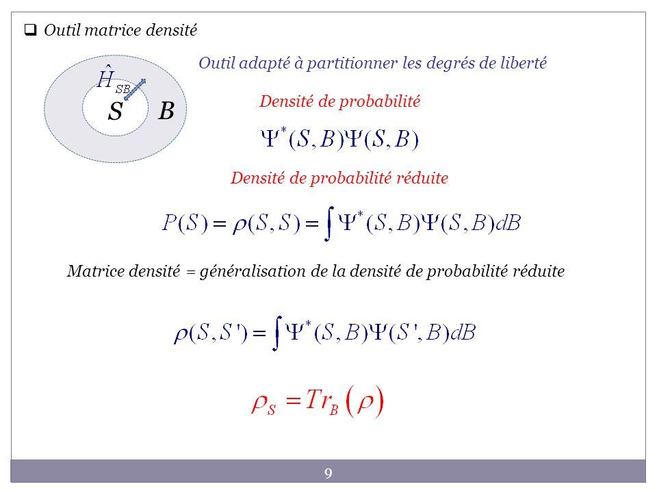 9 Outil matrice densité Outil adapté à partitionner les degrés de liberté S B Matrice densité = généralisation de la densité de probabilité réduite De