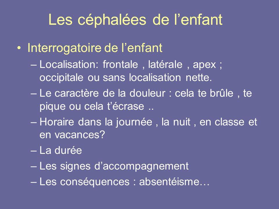 Les céphalées de lenfant Interrogatoire de lenfant –Localisation: frontale, latérale, apex ; occipitale ou sans localisation nette. –Le caractère de l