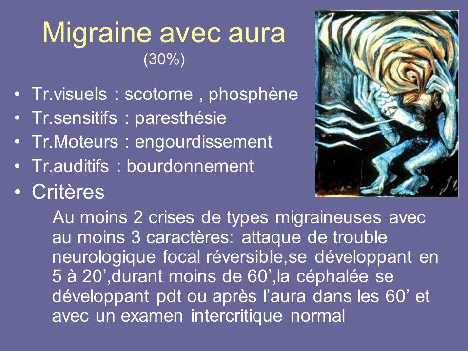 Migraine avec aura (30%) Tr.visuels : scotome, phosphène Tr.sensitifs : paresthésie Tr.Moteurs : engourdissement Tr.auditifs : bourdonnement Critères
