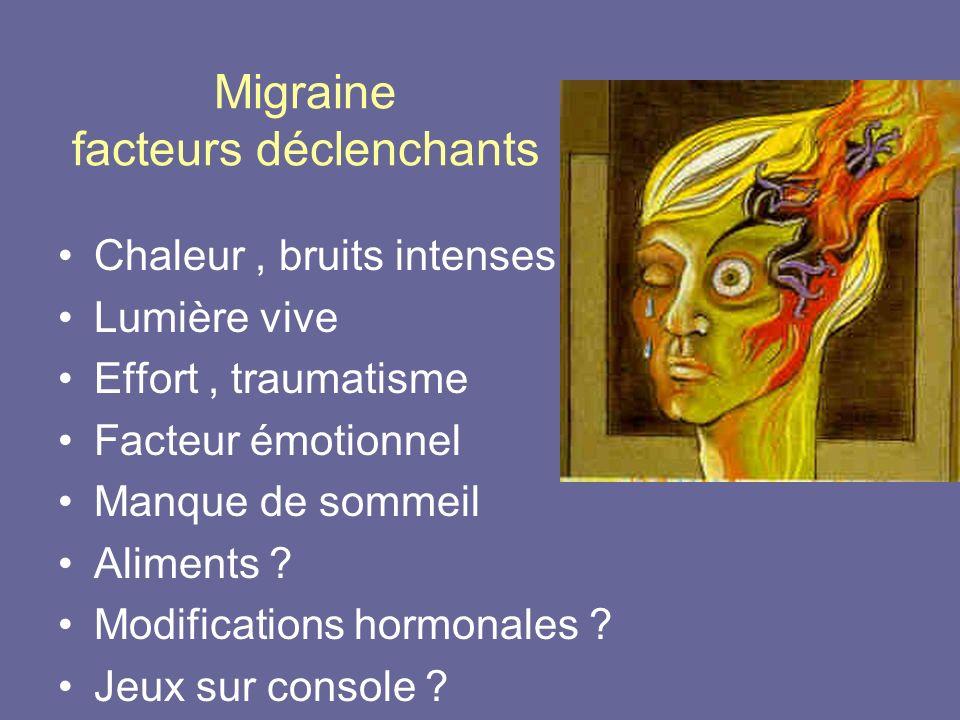 Migraine facteurs déclenchants Chaleur, bruits intenses Lumière vive Effort, traumatisme Facteur émotionnel Manque de sommeil Aliments ? Modifications