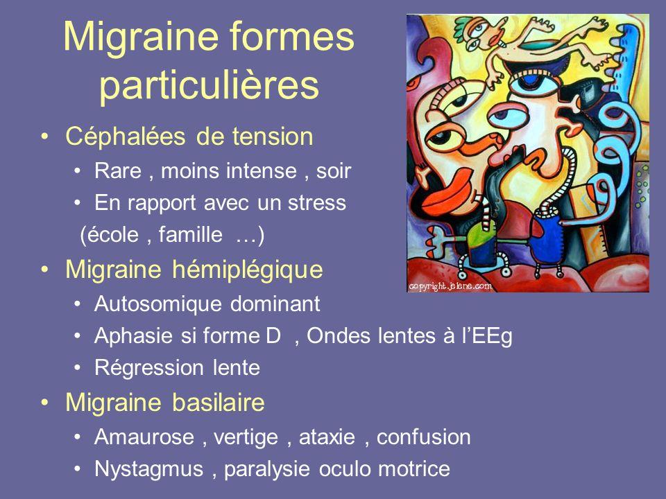 Migraine formes particulières Céphalées de tension Rare, moins intense, soir En rapport avec un stress (école, famille …) Migraine hémiplégique Autoso