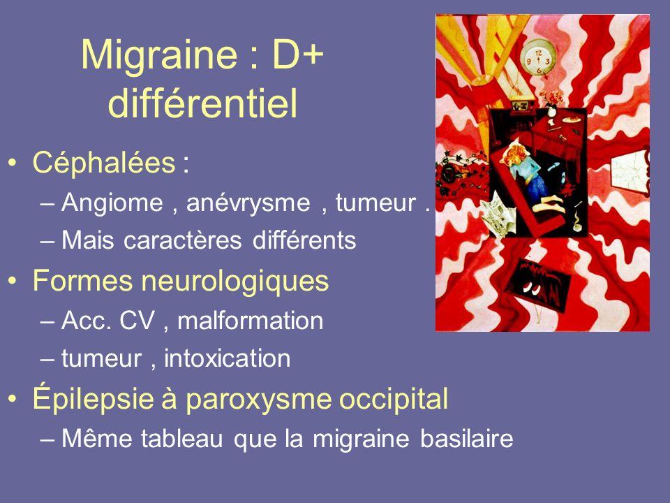 Migraine : D+ différentiel Céphalées : –Angiome, anévrysme, tumeur … –Mais caractères différents Formes neurologiques –Acc. CV, malformation –tumeur,