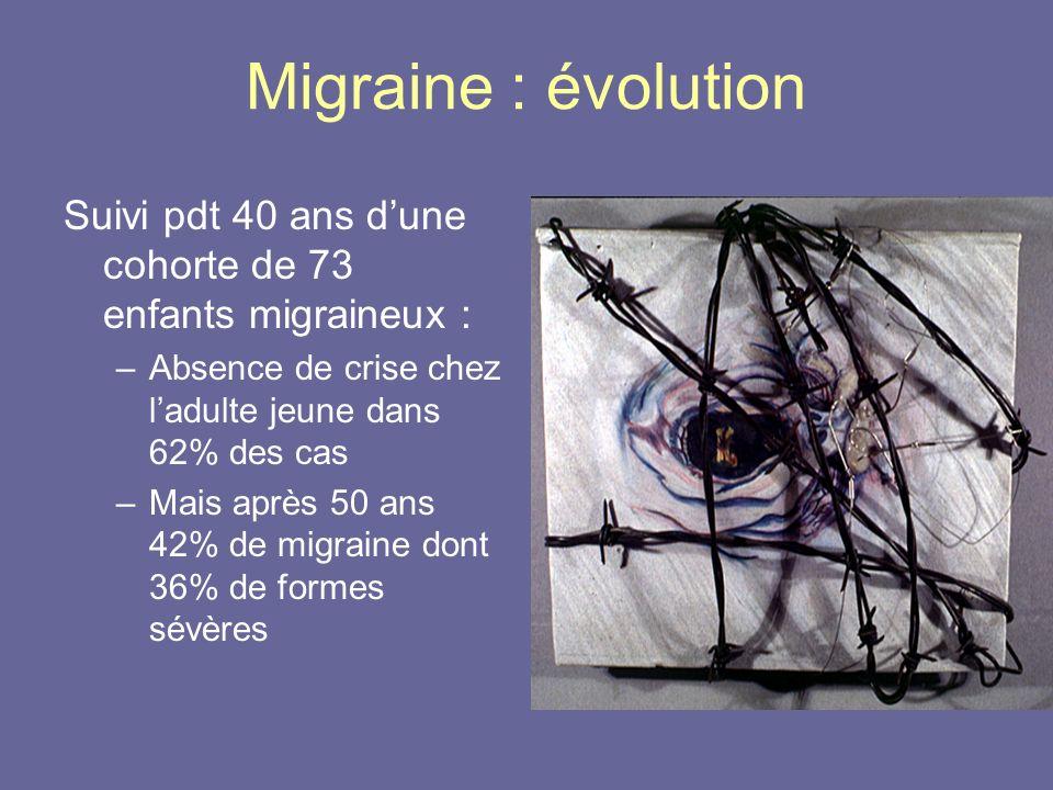 Migraine : évolution Suivi pdt 40 ans dune cohorte de 73 enfants migraineux : –Absence de crise chez ladulte jeune dans 62% des cas –Mais après 50 ans