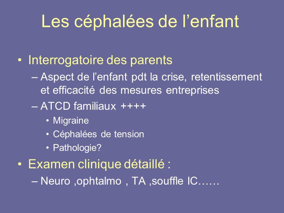 Les céphalées de lenfant Interrogatoire des parents –Aspect de lenfant pdt la crise, retentissement et efficacité des mesures entreprises –ATCD famili