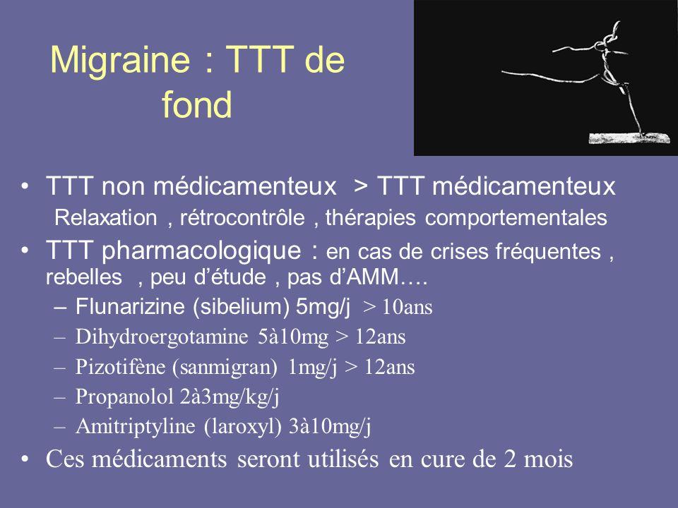 Migraine : TTT de fond TTT non médicamenteux > TTT médicamenteux Relaxation, rétrocontrôle, thérapies comportementales TTT pharmacologique : en cas de