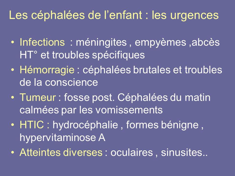 Les céphalées de lenfant : les urgences Infections : méningites, empyèmes,abcès HT° et troubles spécifiques Hémorragie : céphalées brutales et trouble