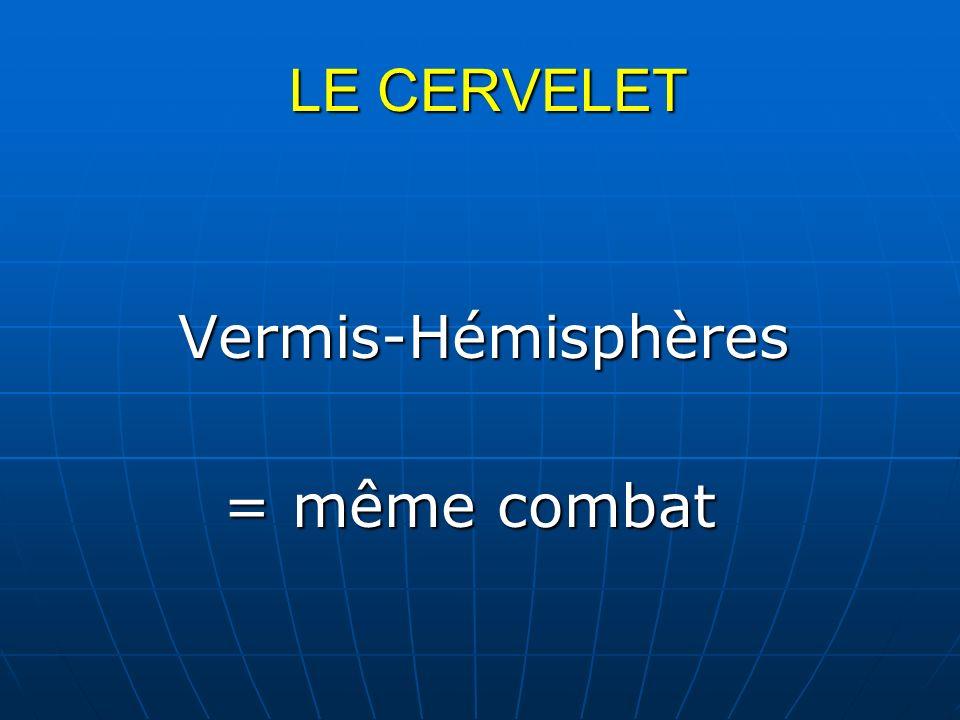 LE CERVELET LE CERVELET Vermis-Hémisphères Vermis-Hémisphères = même combat = même combat