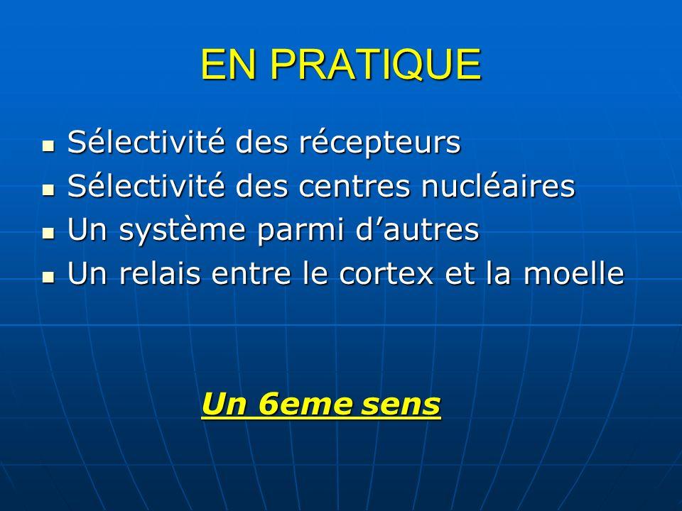 EN PRATIQUE Sélectivité des récepteurs Sélectivité des récepteurs Sélectivité des centres nucléaires Sélectivité des centres nucléaires Un système par