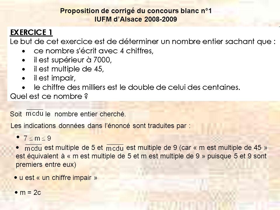 Proposition de corrigé du concours blanc n°1 IUFM dAlsace 2008-2009 Soit le nombre entier cherché.