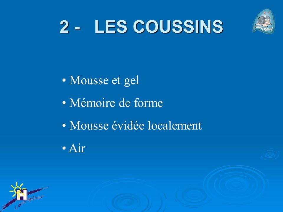 2 - LES COUSSINS Mousse et gel Mémoire de forme Mousse évidée localement Air