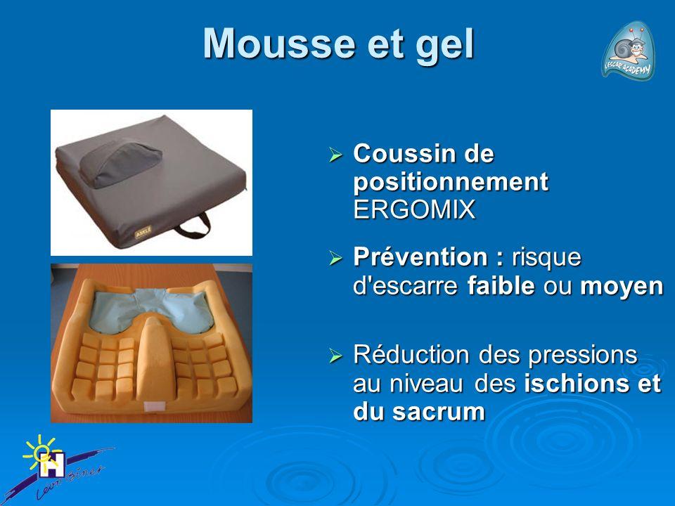 Mousse et gel Coussin de positionnement ERGOMIX Coussin de positionnement ERGOMIX Prévention : risque d'escarre faible ou moyen Prévention : risque d'