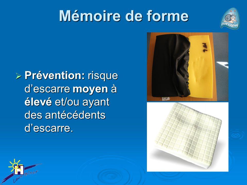 Mémoire de forme Prévention: risque descarre moyen à élevé et/ou ayant des antécédents descarre. Prévention: risque descarre moyen à élevé et/ou ayant
