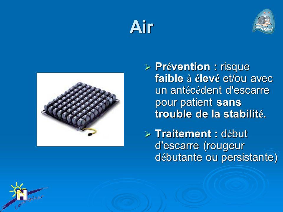 Air Pr é vention : risque faible à é lev é et/ou avec un ant é c é dent d'escarre pour patient sans trouble de la stabilit é. Pr é vention : risque fa