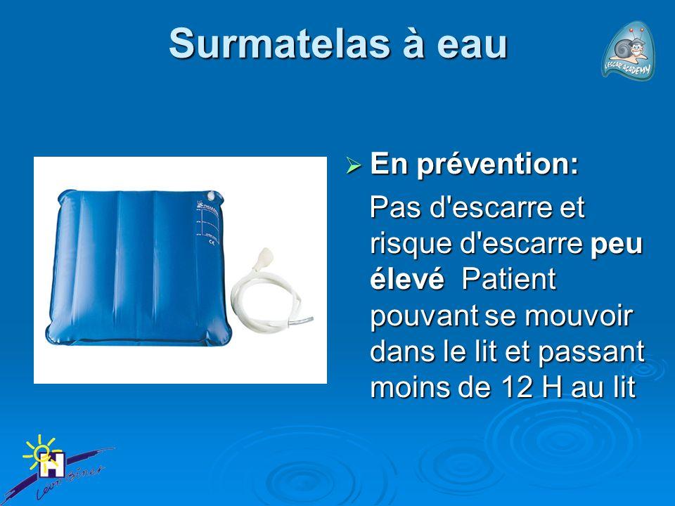 Surmatelas à eau En prévention: En prévention: Pas d'escarre et risque d'escarre peu élevé Patient pouvant se mouvoir dans le lit et passant moins de