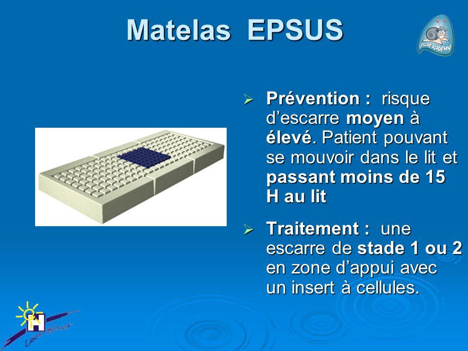 Matelas EPSUS Prévention : risque descarre moyen à élevé. Patient pouvant se mouvoir dans le lit et passant moins de 15 H au lit Prévention : risque d
