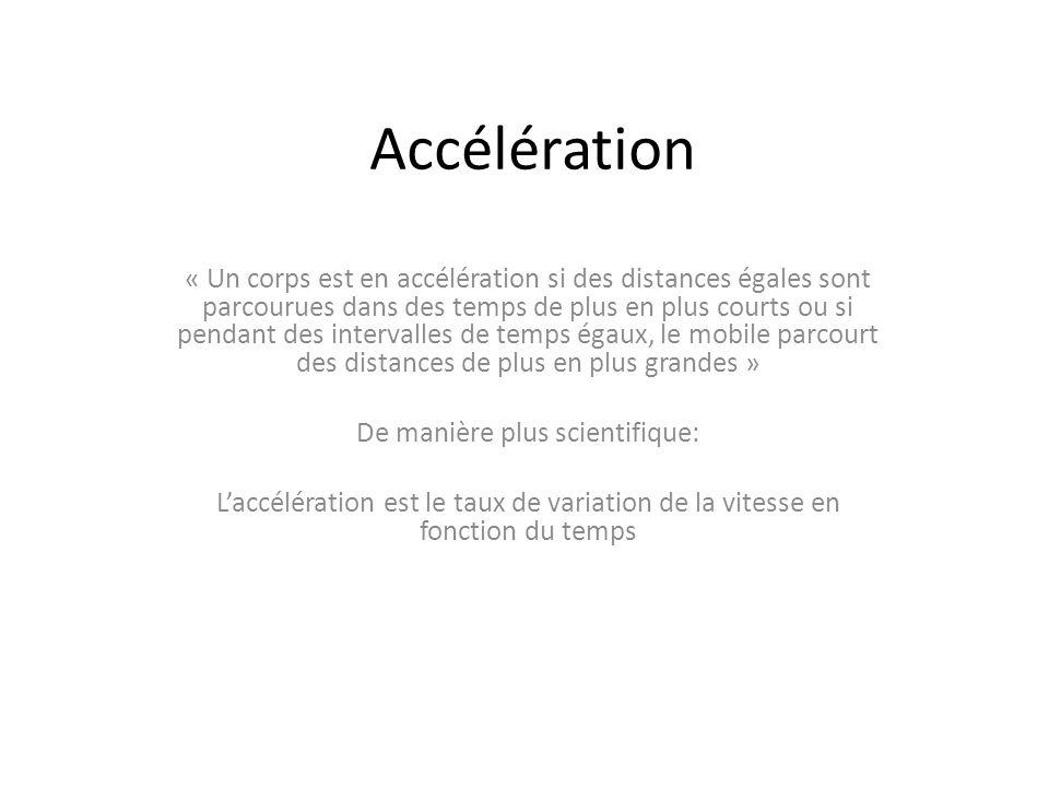 Accélération Accélération moyenne: Accélération moyenne= ------------------------ Am = v/ t = ( v f – v i ) / ( t f – t i ) Unité SI: m/s /s ou m/s 2 Un vecteur (vitesse) divisé par un scalaire (temps) = un vecteur (accélération) temps écoulé Variation de la vitesse
