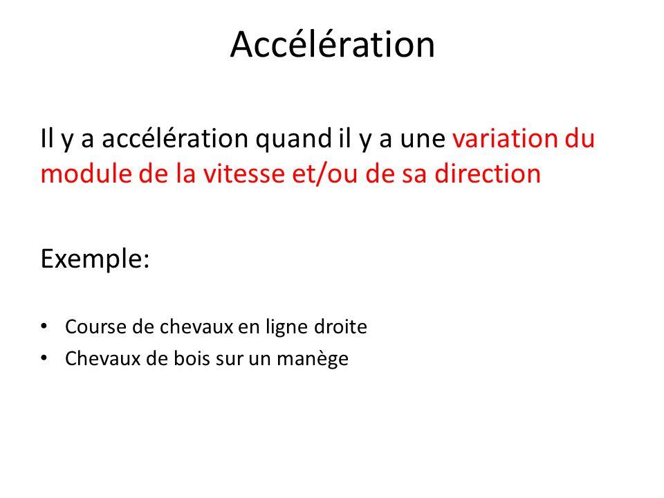 Accélération Il y a accélération quand il y a une variation du module de la vitesse et/ou de sa direction Exemple: Course de chevaux en ligne droite C