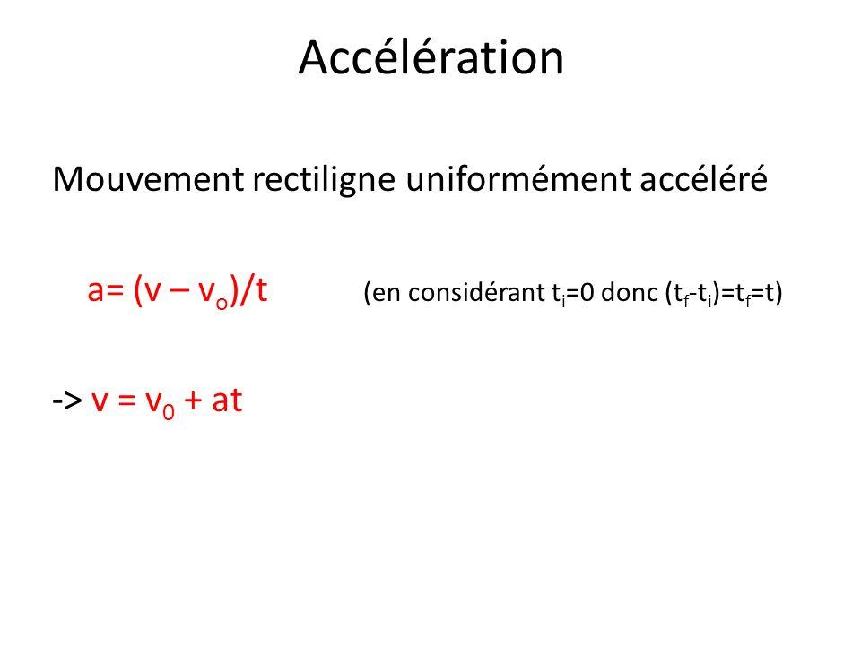 Accélération Vitesse moyenne constante équivalent à un mouvement uniformément accéléré: v m =½ (v 0 + v) Théorème de la vitesse moyenne: s = ½(v 0 + v)t ( Combinaison de s = v m t et v m = ½ (v 0 + v) )