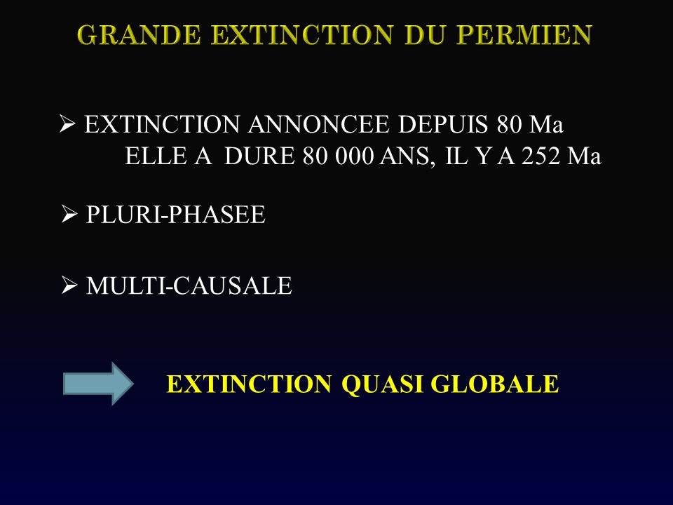 EXTINCTION ANNONCEE DEPUIS 80 Ma ELLE A DURE 80 000 ANS, IL Y A 252 Ma PLURI-PHASEE MULTI-CAUSALE EXTINCTION QUASI GLOBALE