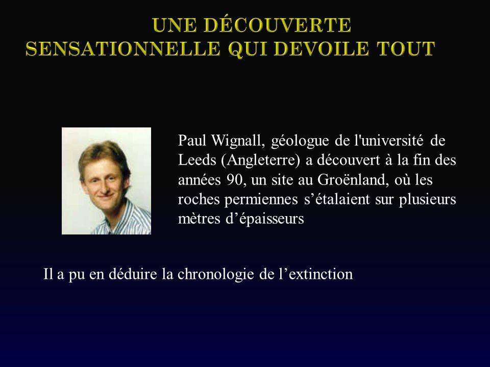 Paul Wignall, géologue de l'université de Leeds (Angleterre) a découvert à la fin des années 90, un site au Groënland, où les roches permiennes sétala