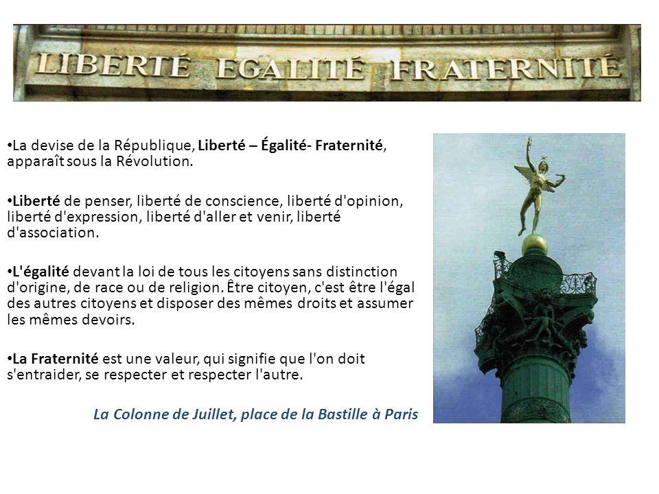 La devise de la République, Liberté – Égalité- Fraternité, apparaît sous la Révolution. Liberté de penser, liberté de conscience, liberté d'opinion, l