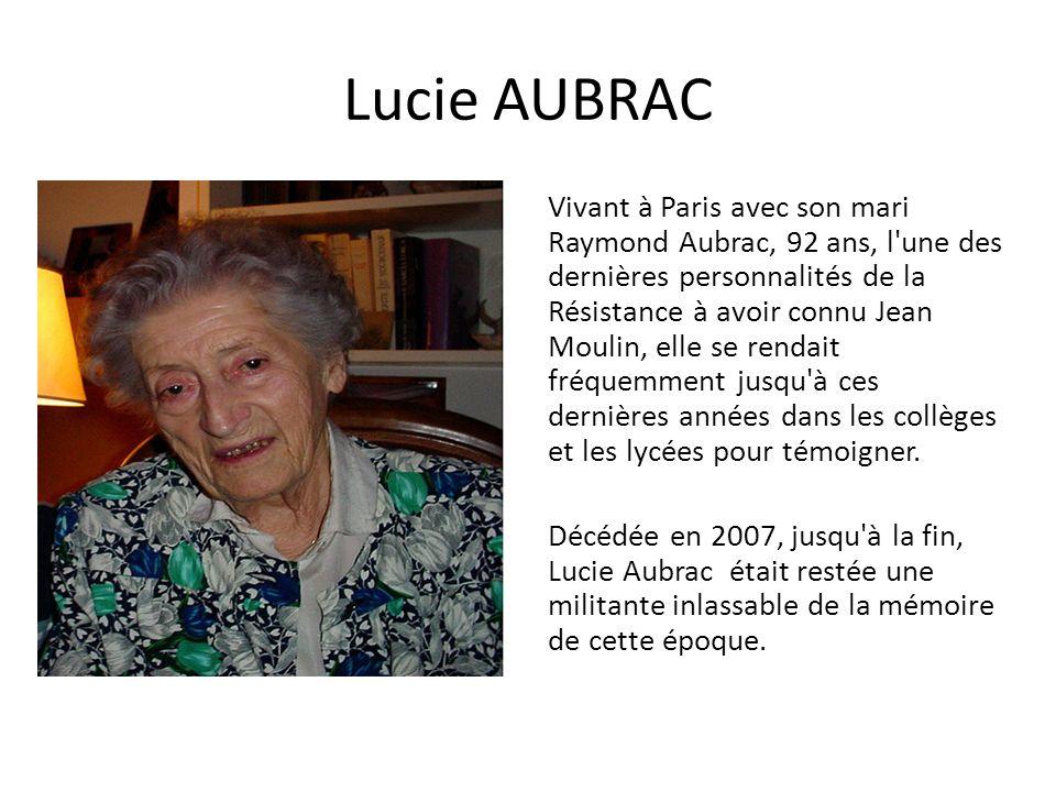 Lucie AUBRAC Vivant à Paris avec son mari Raymond Aubrac, 92 ans, l'une des dernières personnalités de la Résistance à avoir connu Jean Moulin, elle s
