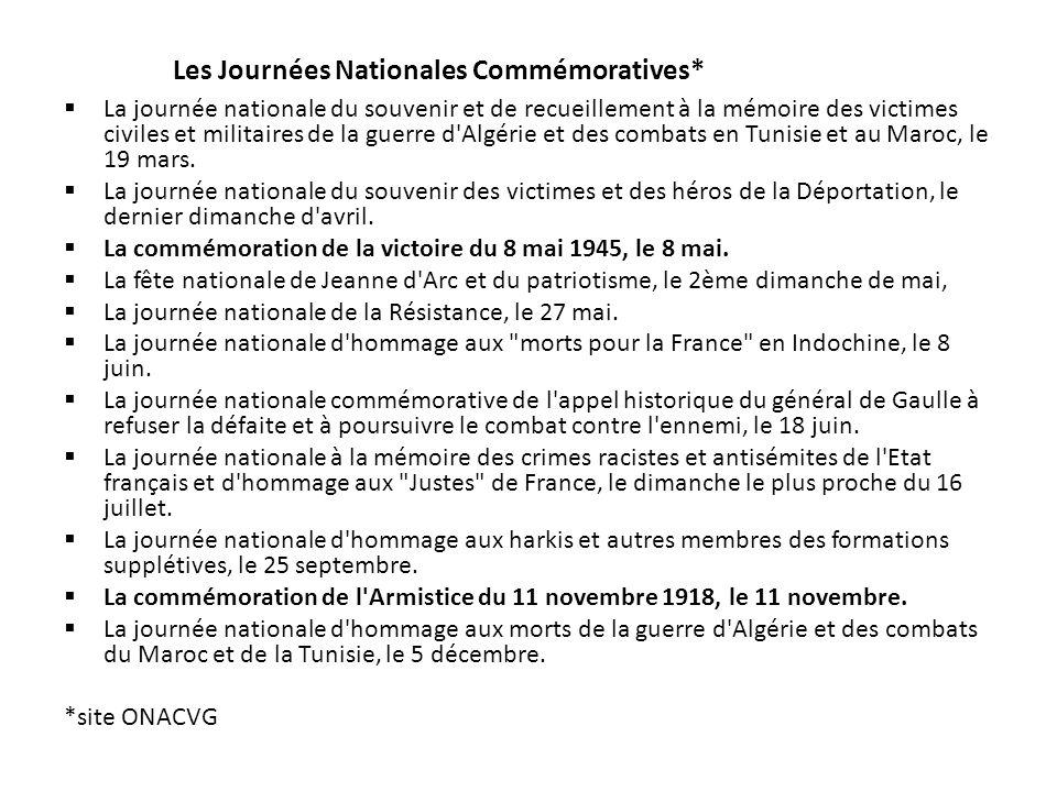 La journée nationale du souvenir et de recueillement à la mémoire des victimes civiles et militaires de la guerre d Algérie et des combats en Tunisie et au Maroc, le 19 mars.
