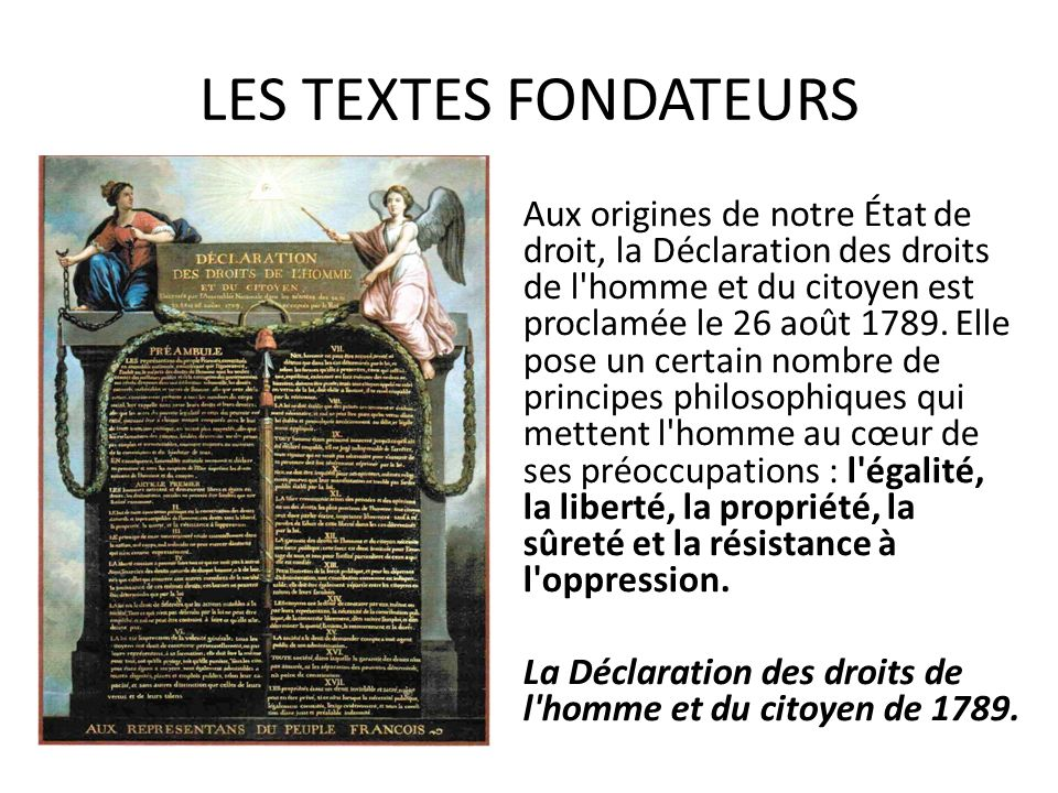 LES TEXTES FONDATEURS Aux origines de notre État de droit, la Déclaration des droits de l'homme et du citoyen est proclamée le 26 août 1789. Elle pose