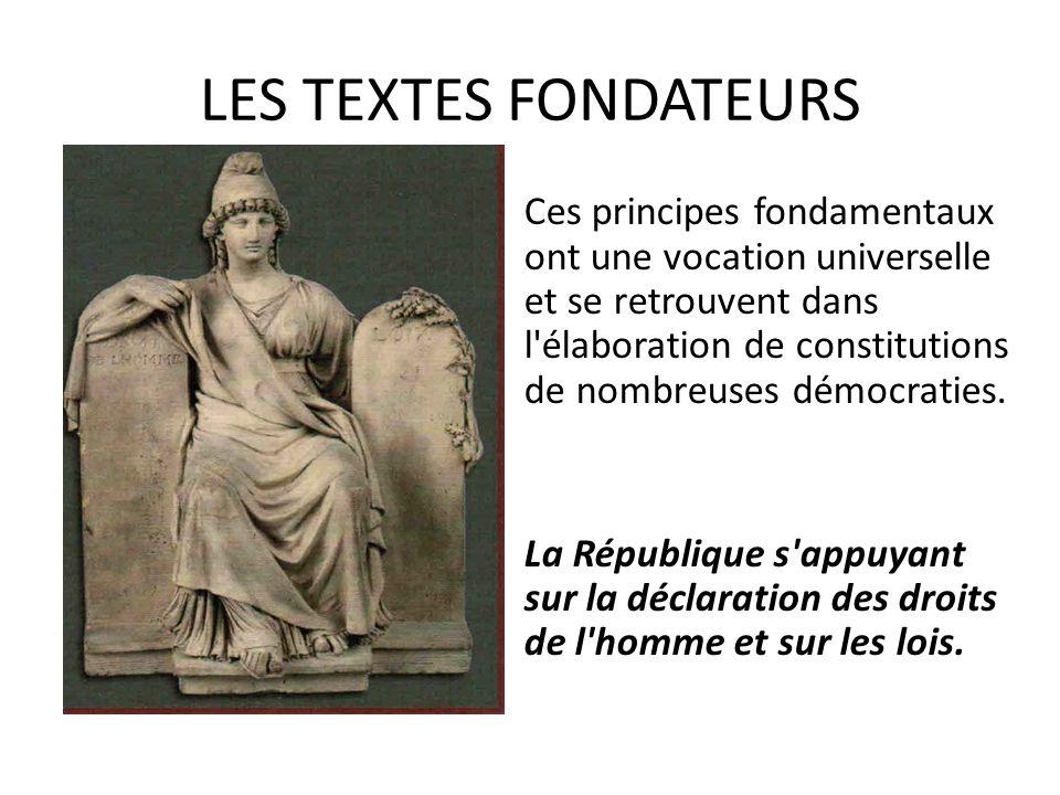 LES TEXTES FONDATEURS Ces principes fondamentaux ont une vocation universelle et se retrouvent dans l élaboration de constitutions de nombreuses démocraties.