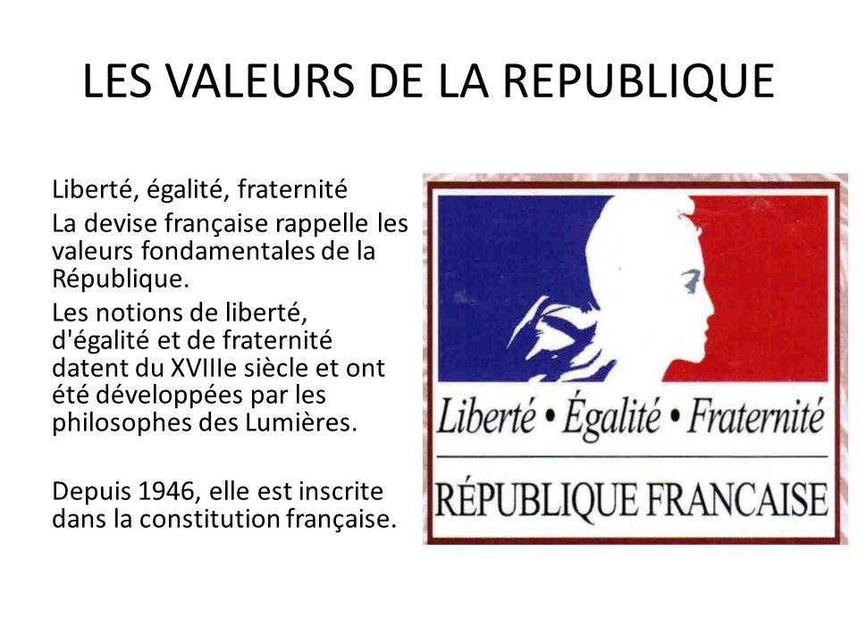 LES VALEURS DE LA REPUBLIQUE Liberté, égalité, fraternité La devise française rappelle les valeurs fondamentales de la République. Les notions de libe