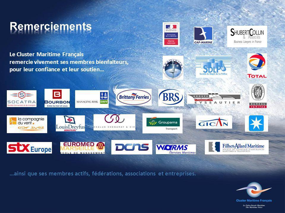 Le Cluster Maritime Français remercie vivement ses membres bienfaiteurs, pour leur confiance et leur soutien… …ainsi que ses membres actifs, fédérations, associations et entreprises.