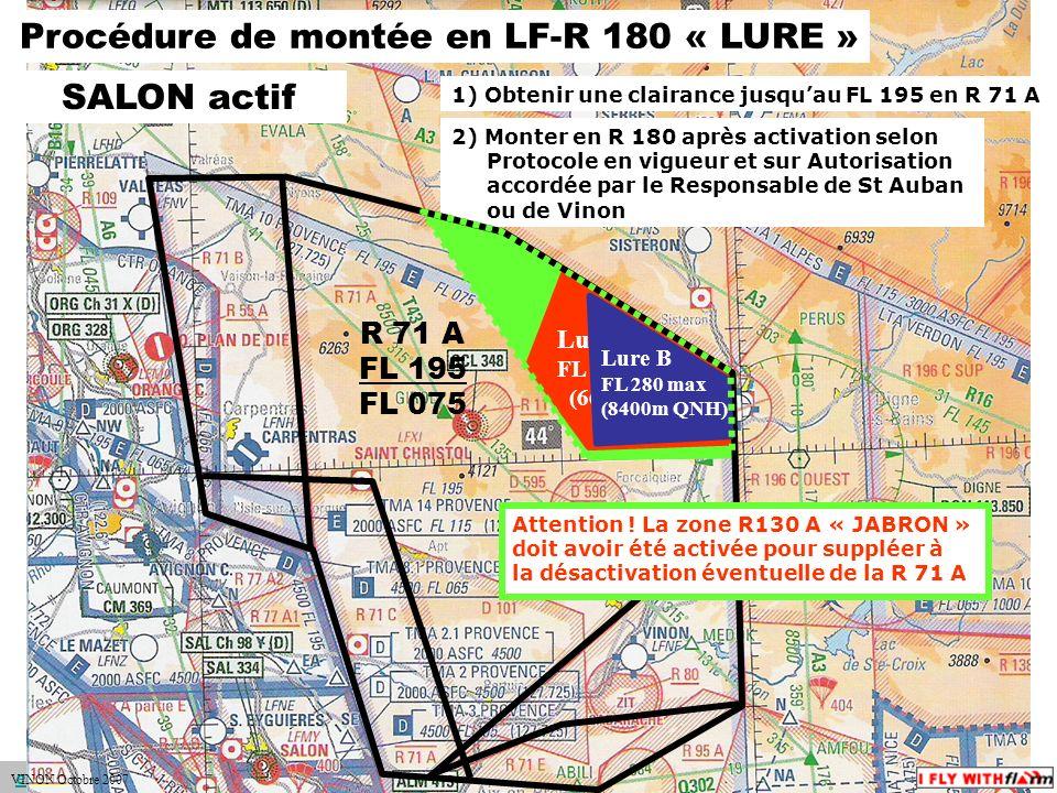 espace.aerien@ffvv.org 31 Janvier 2012espace.aerien@ffvv.org 2) Monter en R 180 après activation selon Protocole en vigueur et sur Autorisation accordée par le Responsable de St Auban ou de Vinon Procédure de montée en LF-R 180 « LURE » Lure A FL 220 max (6600m QNH) 1) Obtenir une clairance jusquau FL 195 en R 71 A R 71 A FL 195 FL 075 Lure B FL 280 max (8400m QNH) Attention .