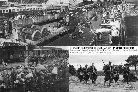 Le premier convoi français du 64ème RAA arrive en gare de Kalaa-Djerba. Les troupes montent au combat à pied, comme dhabitude, mais cette fois-ci la v