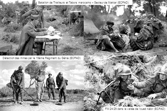 FM 24/29 dans la vallée de loued Kébir (ECPAD) Bataillon de Tirailleurs et Tabors marocains – Secteur de Maktar (ECPAD) Détection des mines par le 19è