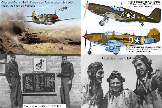 Chasseur Curtiss P-40 Warhawk en Tunisie début 1943 (Heinz Kreibs via Yago de Robadilla) Pilotes de chasse (USAF) Les scores du 48th FG (USAF) Avion d