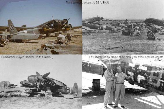 Bombardier moyen Heinkel He 111 (USAF)Les sénateurs du Maine et de New-york examinent les dégâts (USAF) Transporteur Junkers Ju 52 (USNA)