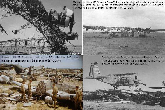 Des hydravions français détruits à Bizerte – Devant : Un LeO 258, au fond : Le prototype du NC 410 et à droite, la dérive dun Laté 298 (USAF) Messersc