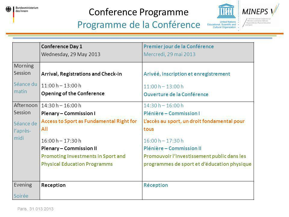 Conference Programme Programme de la Conférence Conference Day 1 Wednesday, 29 May 2013 Premier jour de la Conférence Mercredi, 29 mai 2013 Morning Se