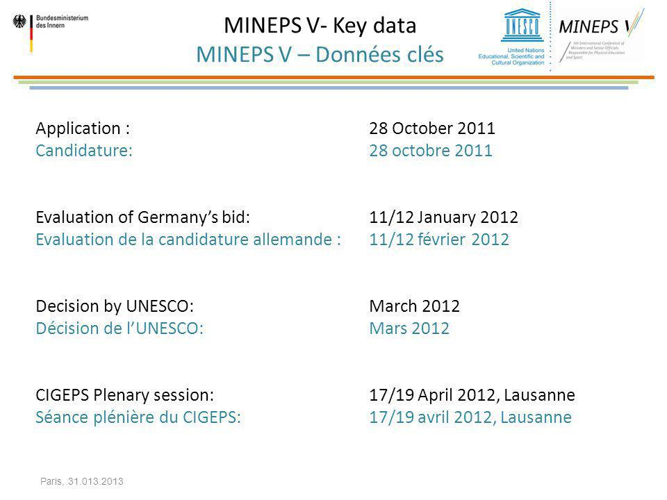 MINEPS V- Key data MINEPS V – Données clés Application : 28 October 2011 Candidature: 28 octobre 2011 Evaluation of Germanys bid: 11/12 January 2012 E