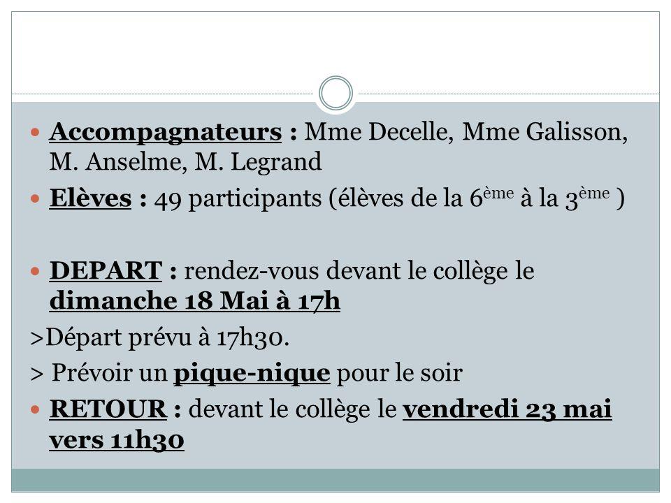 Accompagnateurs : Mme Decelle, Mme Galisson, M.Anselme, M.