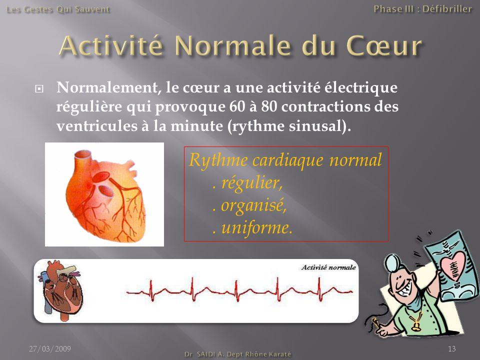 Normalement, le cœur a une activité électrique régulière qui provoque 60 à 80 contractions des ventricules à la minute (rythme sinusal). 27/03/200913