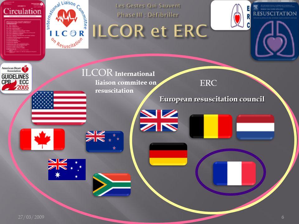 ILCOR International liaison commitee on resuscitation ERC 27/03/20096 European resuscitation council