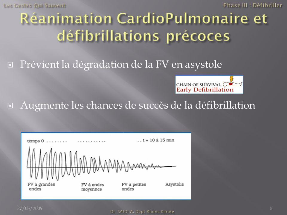 Prévient la dégradation de la FV en asystole Augmente les chances de succès de la défibrillation 27/03/20098