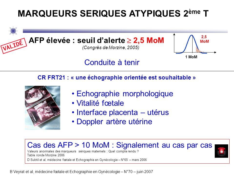 CR FRT21 : « une échographie orientée est souhaitable » Echographie morphologique Vitalité fœtale Interface placenta – utérus Doppler artère utérine B