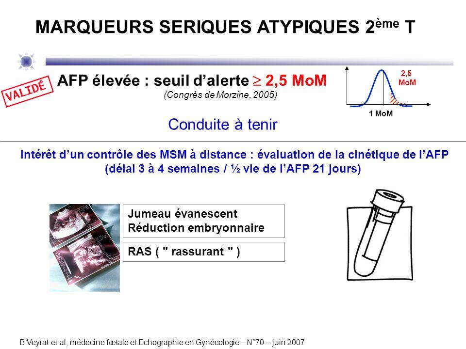 Intérêt dun contrôle des MSM à distance : évaluation de la cinétique de lAFP (délai 3 à 4 semaines / ½ vie de lAFP 21 jours) B Veyrat et al, médecine