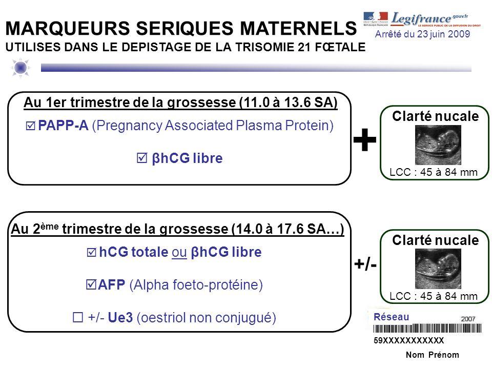 Au 2 ème trimestre de la grossesse (14.0 à 17.6 SA…) hCG totale ou βhCG libre AFP (Alpha foeto-protéine) +/- Ue3 (oestriol non conjugué) MARQUEURS SER