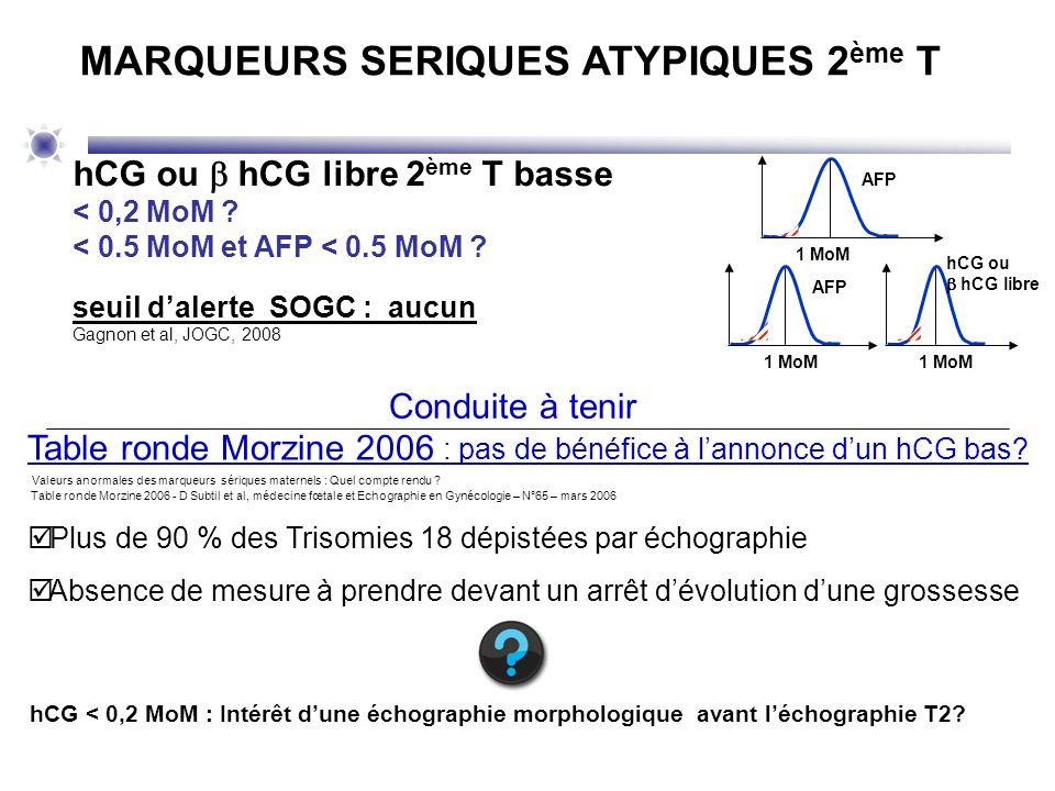 Table ronde Morzine 2006 : pas de bénéfice à lannonce dun hCG bas? Valeurs anormales des marqueurs sériques maternels : Quel compte rendu ? Table rond